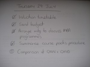 To do list 29/07/2010