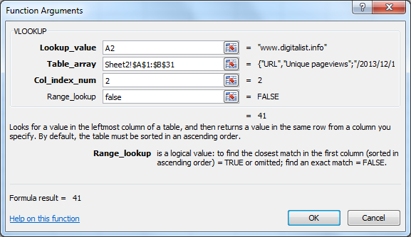 Function Arguments dialogue box for VLOOKUP function in Excel